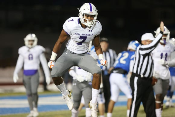 New Rochelle defeated Shaker 27-19 to win the state Class AA semifinal game at Middletown High School Nov. 17, 2018.