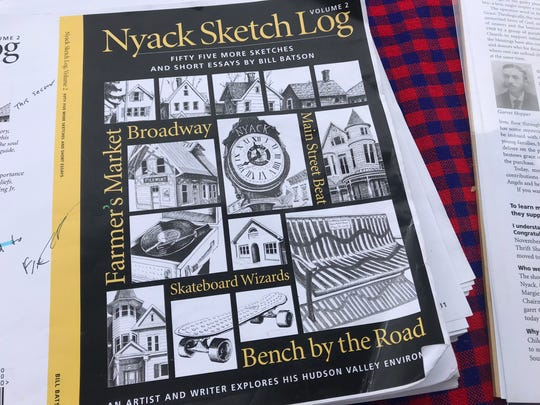 """""""Nyack Sketch Log, Vol. 2"""" includes 55 drawings and stories, six of them drawn from the weekly Nyack Farmers' Market, where Bill Batson is official artist-in-residence. The new sketch log will be launched at a party at 6 p.m., Nov. 27 at Nyack's Hudson House."""