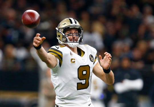 New Orleans Saints quarterback Drew Brees (9) passes in the first half of an NFL football game against the Philadelphia Eagles in New Orleans, Sunday, Nov. 18, 2018. (AP Photo/Butch Dill)