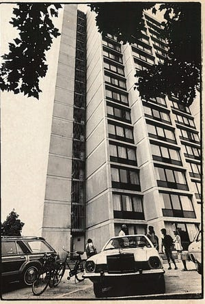 Students move into The Christiana Towers in 1981. The University of Delaware has announced that it will be closing both 17-story residence halls at the end of the 2018-19 school year