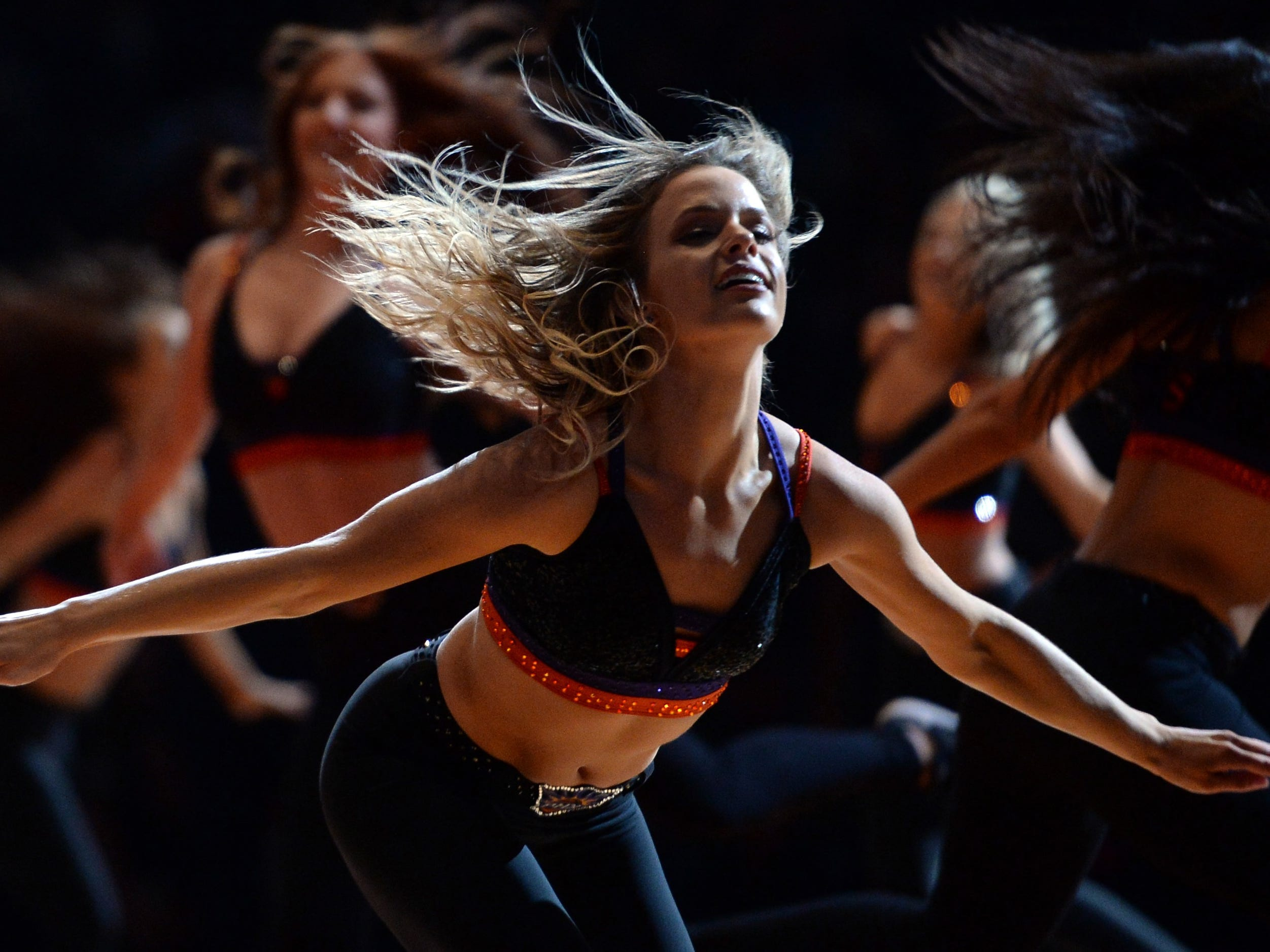 Nov. 17: Suns dancers entertain the crowd during a stop in play against the Thunder.