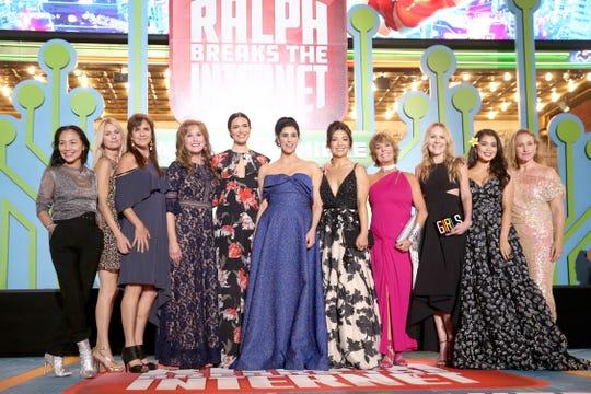 "Disney princess voice actresses Irene Bedard (voice of Pocahontas, from left) Kate Higgins (Aurora), Jennifer Hale (Cinderella), Jodi Benson (Ariel), Mandy Moore (Rapunzel), Sarah Silverman (Vanellope), Ming-Na Wen (Mulan), Paige O'Hara (Belle), Linda Larkin (Jasmine), Auli'i Cravalho (Moana) and Pamela Ribon (Snow White) pose at the ""Ralph Breaks the Internet"" premiere."