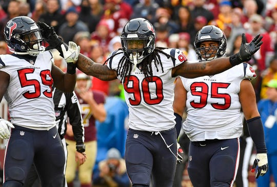 Texans defensive end  Jadeveon Clowney celebrates after a sack against the Redskins.