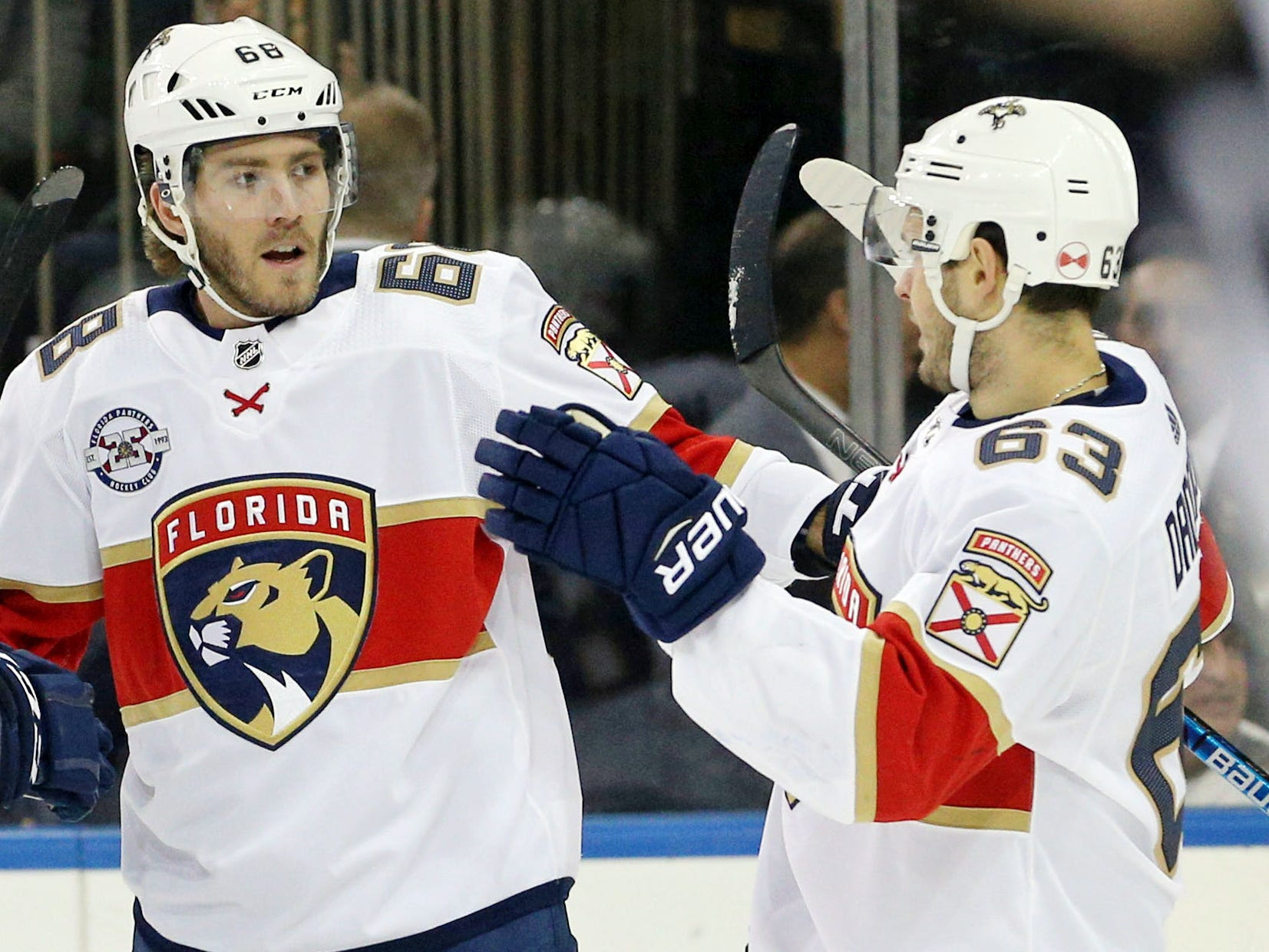 Nov. 17: Florida Panthers left wing Mike Hoffman (68) celebrates his goal, which extended his point streak to 15 games. The New York Rangers won 4-2.