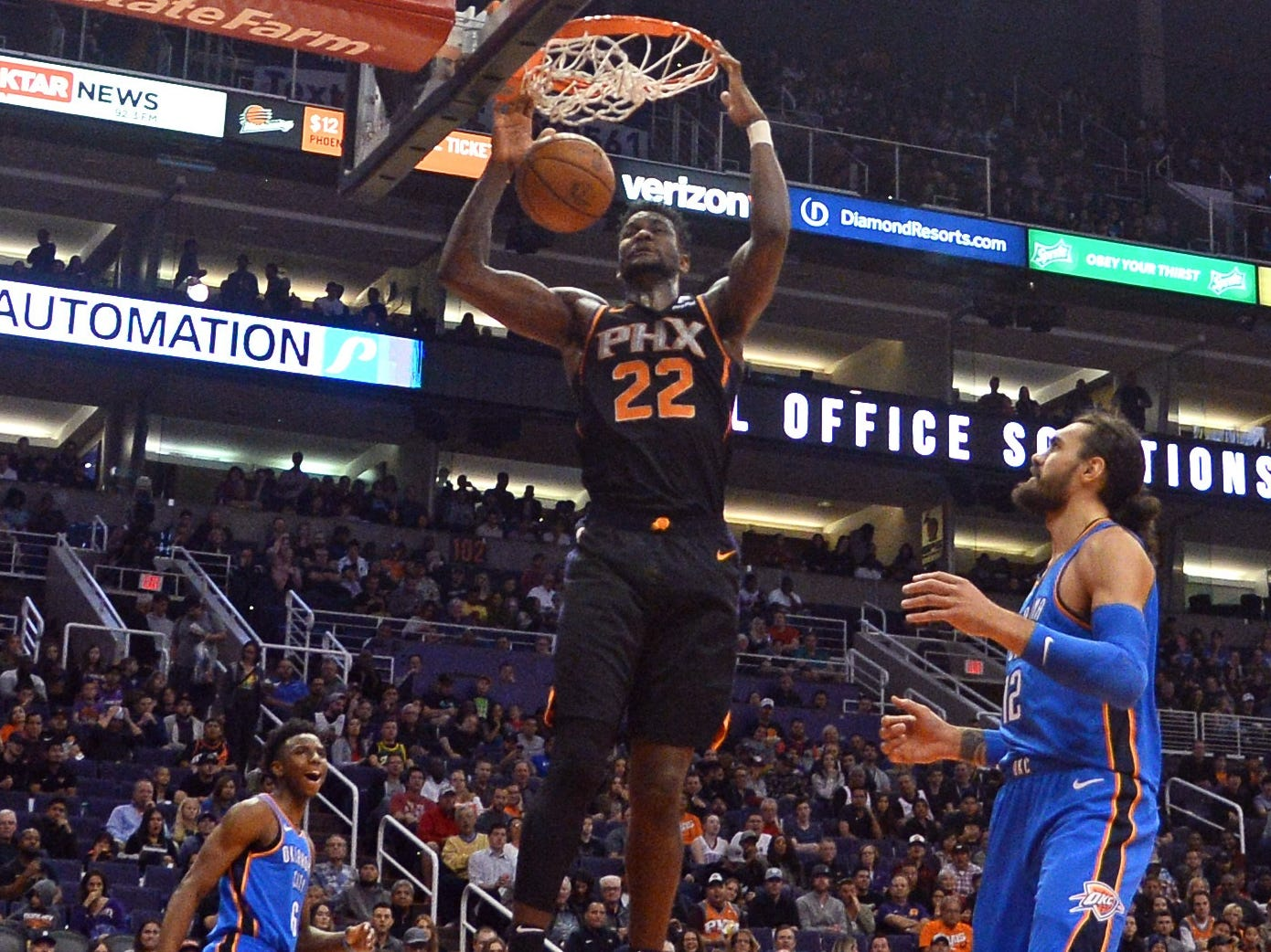 Nov. 17: Suns center Deandre Ayton throws down a two-handed finish during the first half against the Thunder.