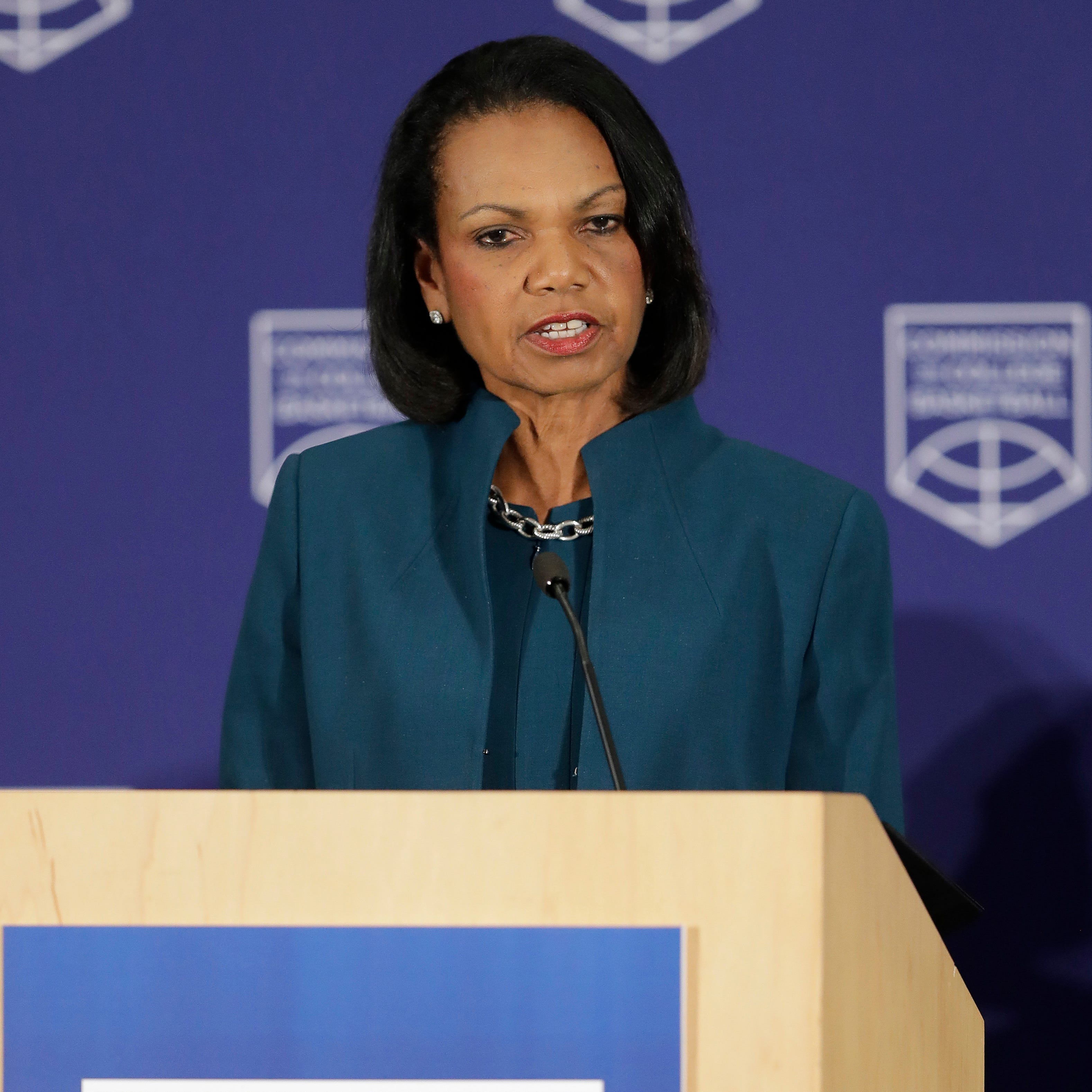 Former U.S. Secretary of State Condoleezza Rice speaks during a news conference at the NCAA headquarters April 25, 2018, in Indianapolis.
