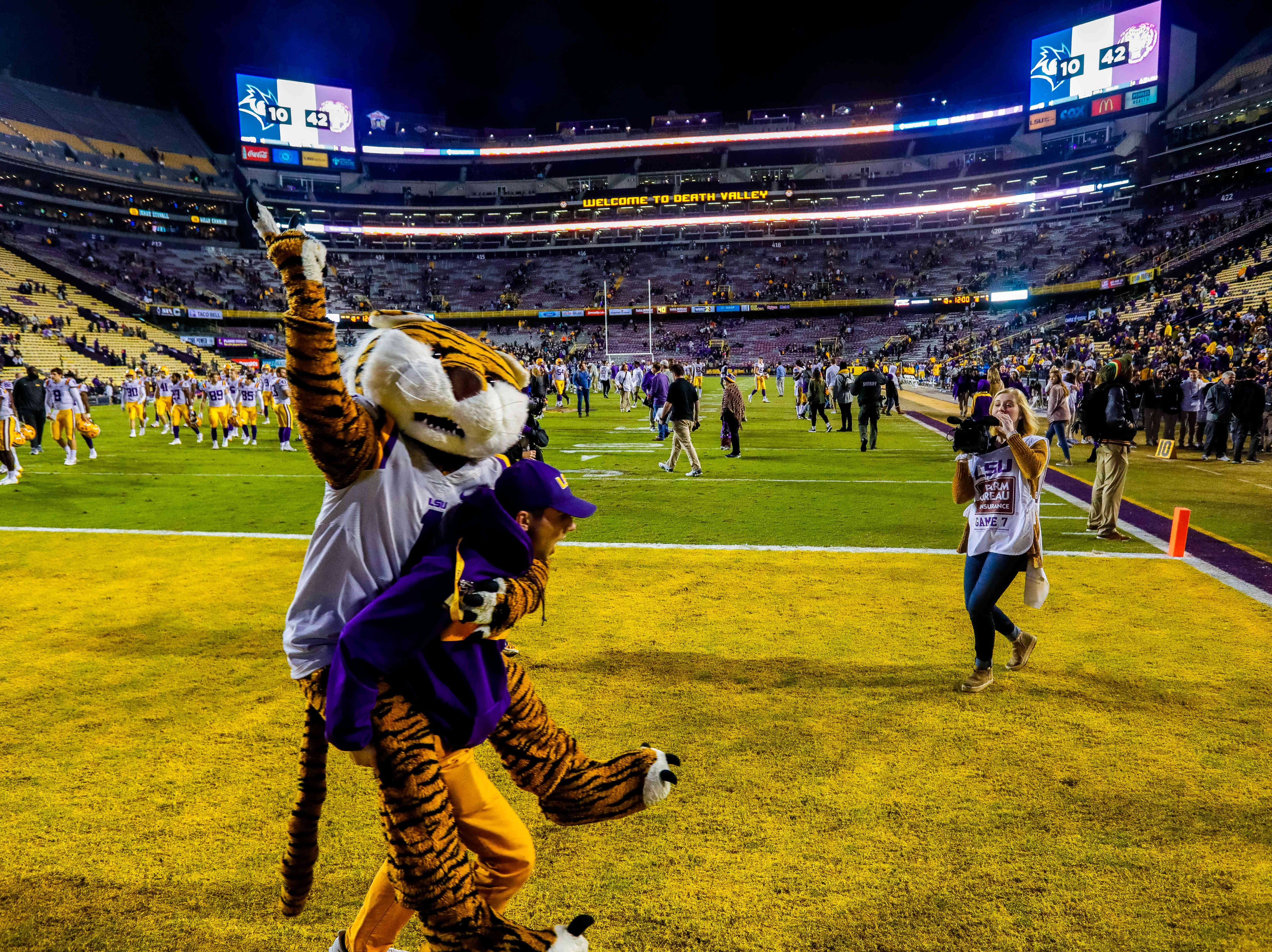 Week 12: The LSU Tigers mascot celebrates a victory over the Rice Owls at Tiger Stadium.