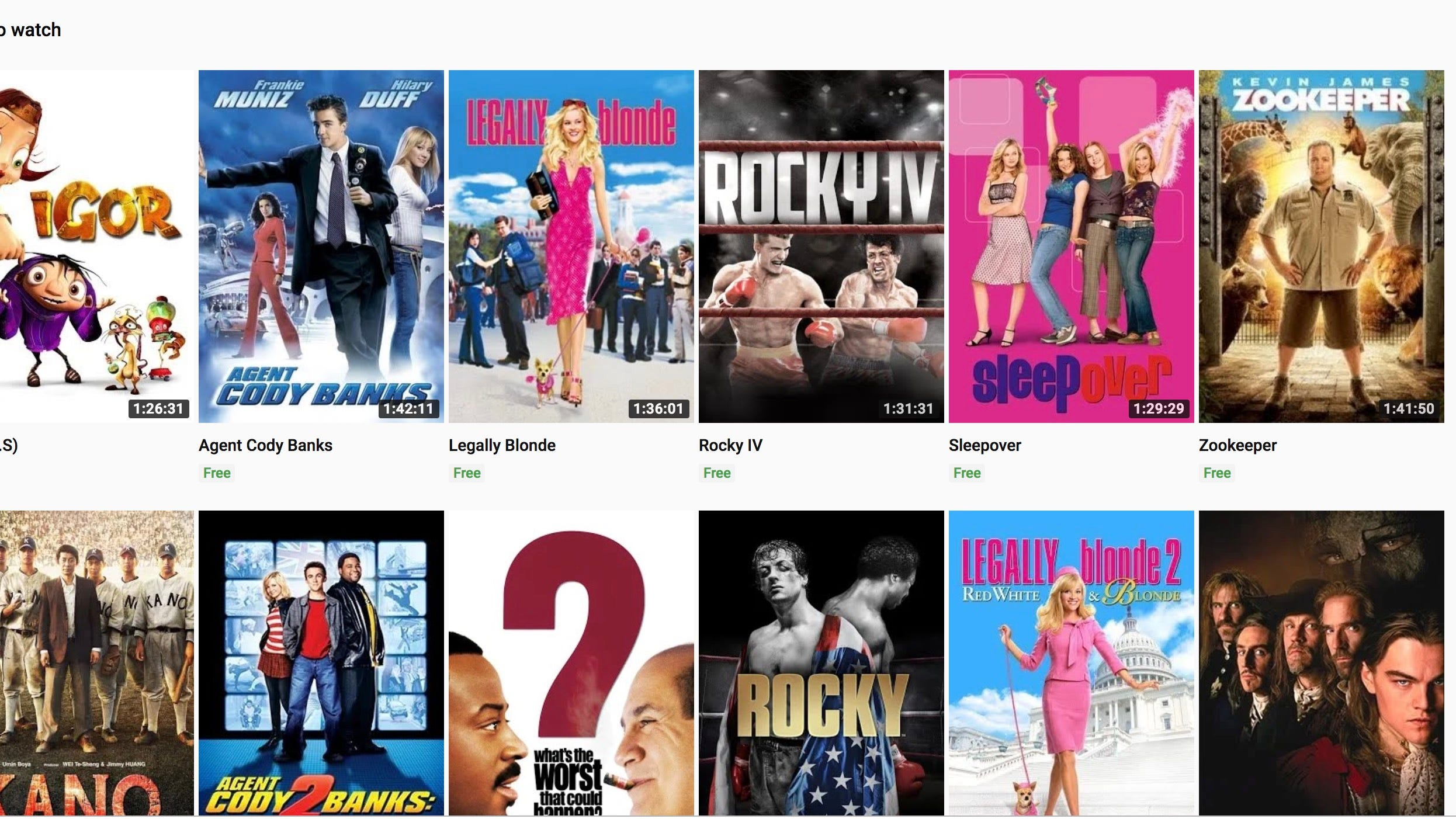 Youtube Now Offers Free Movies Including Rocky Pink Panther Films