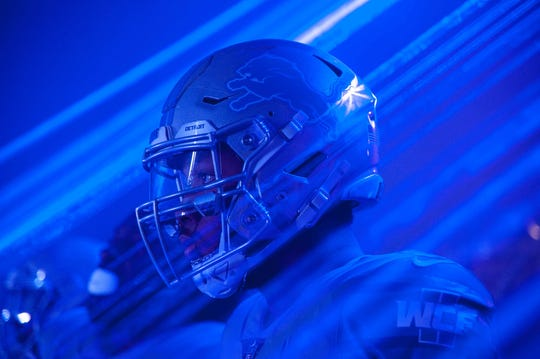Lions defensive end Romeo Okwara before the game against the Panthers at Ford Field.