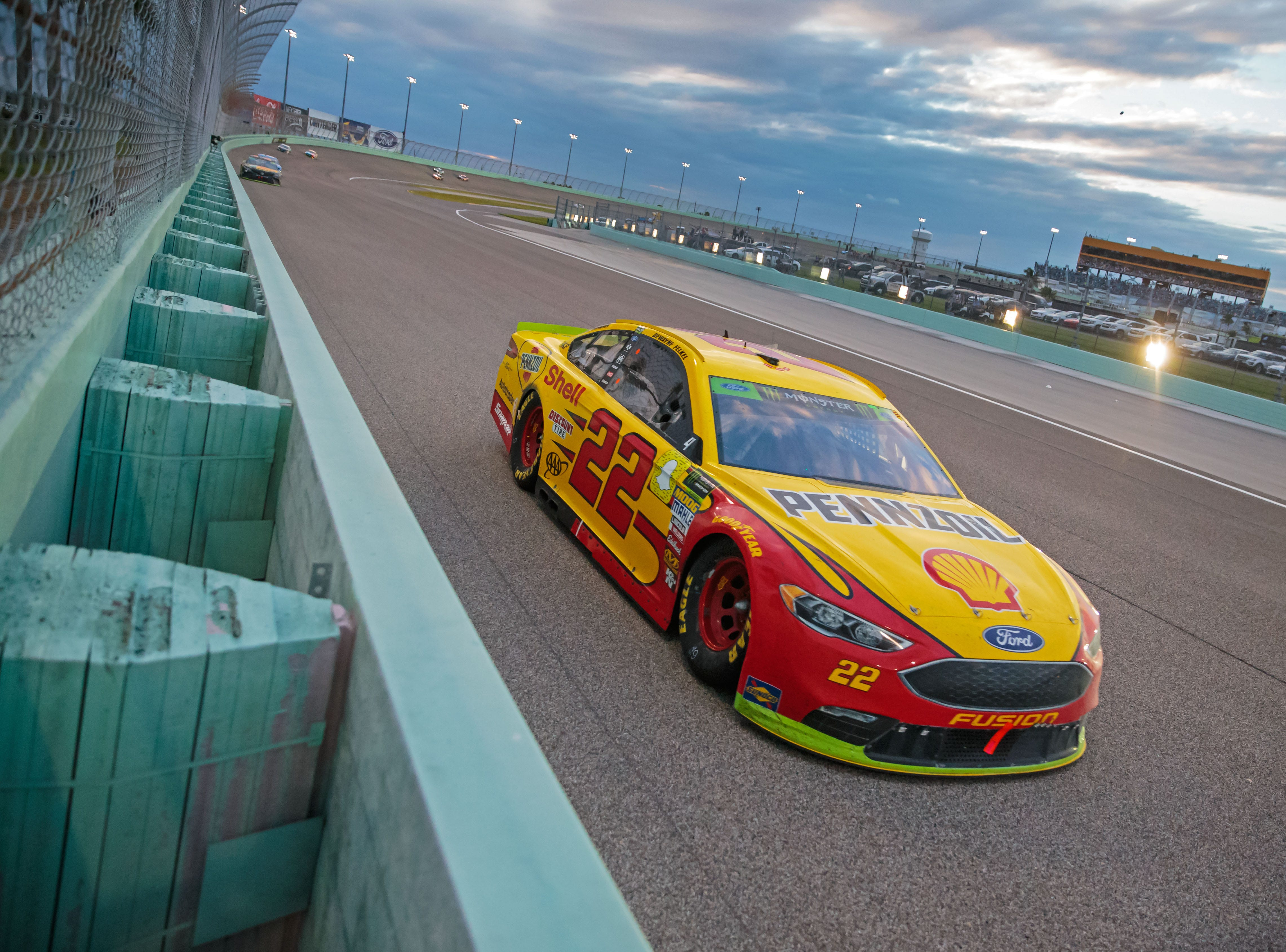 Joey Logano during the Ford EcoBoost 400 at Homestead-Miami Speedway.