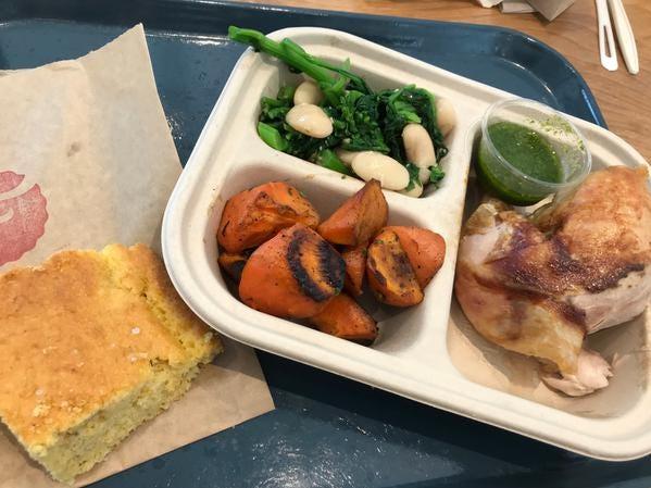 A chicken dinner at Farmly.