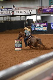 Angela Ganter takes a tight corner at the Glen Rose rodeo last weekend.