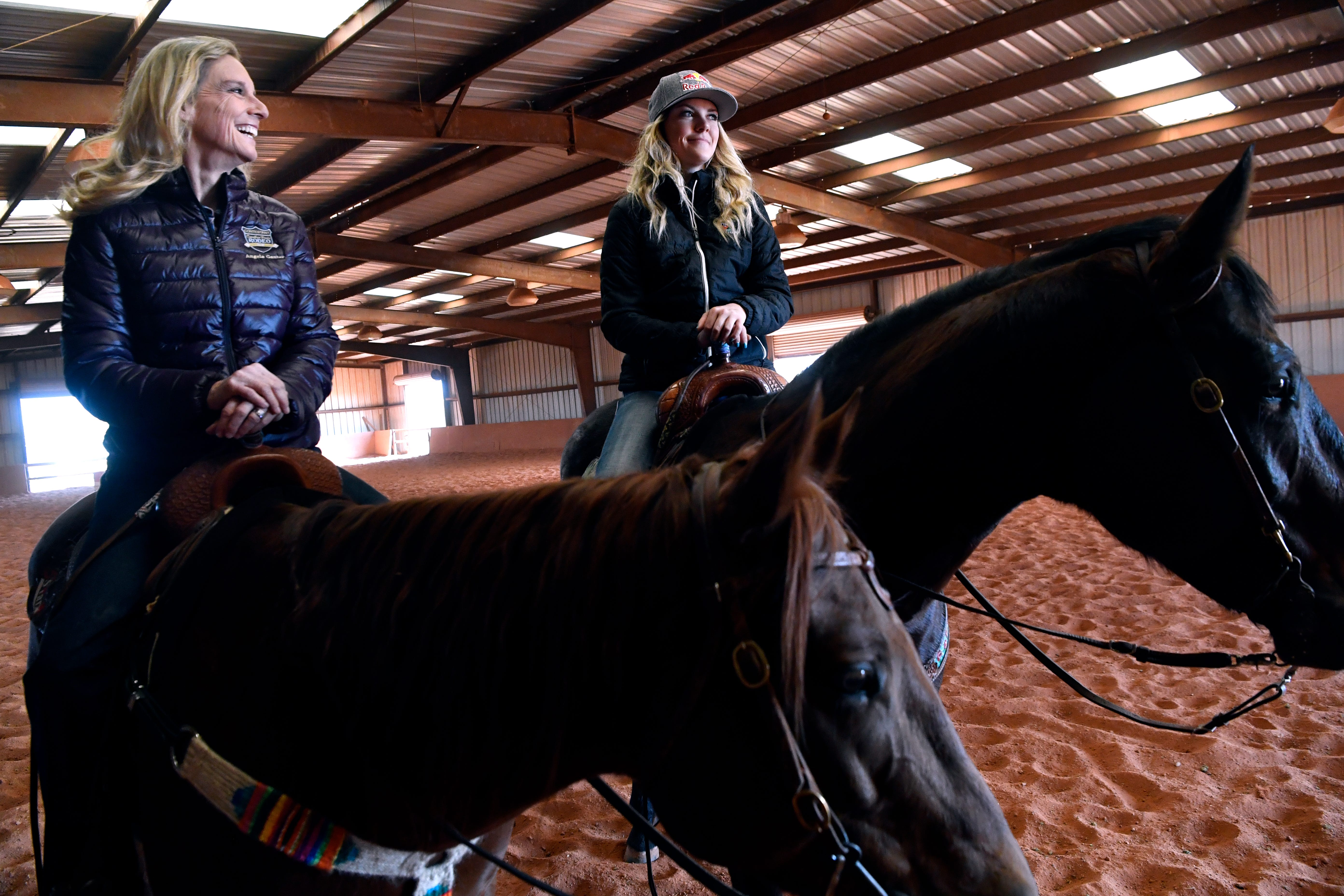 Angela Ganter and her daughter Jackie at Lone Star Stables Monday.