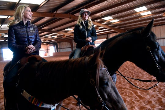 Angela Ganter and her daughter Jackie at Lone Star Stables in November. They are competing this week at the Canadian Finals Rodeo.