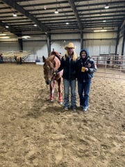 "Angela, right, and her ""helper"" Jackie Ganter when Jackie was out with an ankle injury. They were at the Canadian Final Rodeo this fall in Red Deer, Alberta."