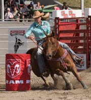 Angela Ganter rides in the Cloverdale rodeo in British Columbia earlier this year.