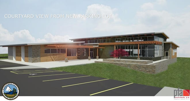 A more than 14,000-square-foot branch will be built to replace the East Asheville library. This rendering shows initial plans for the facility.