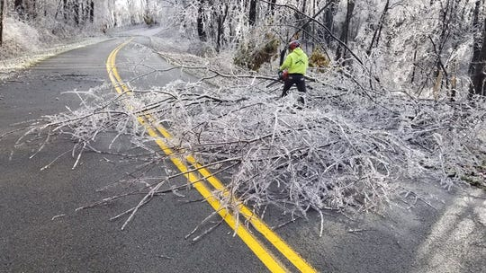 Blue Ridge Parkway crews clear downed trees on the parkway near Asheville.