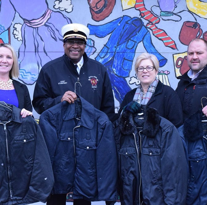 71 fire department coats rescued from 'dusty, dank' building, donated to the needy