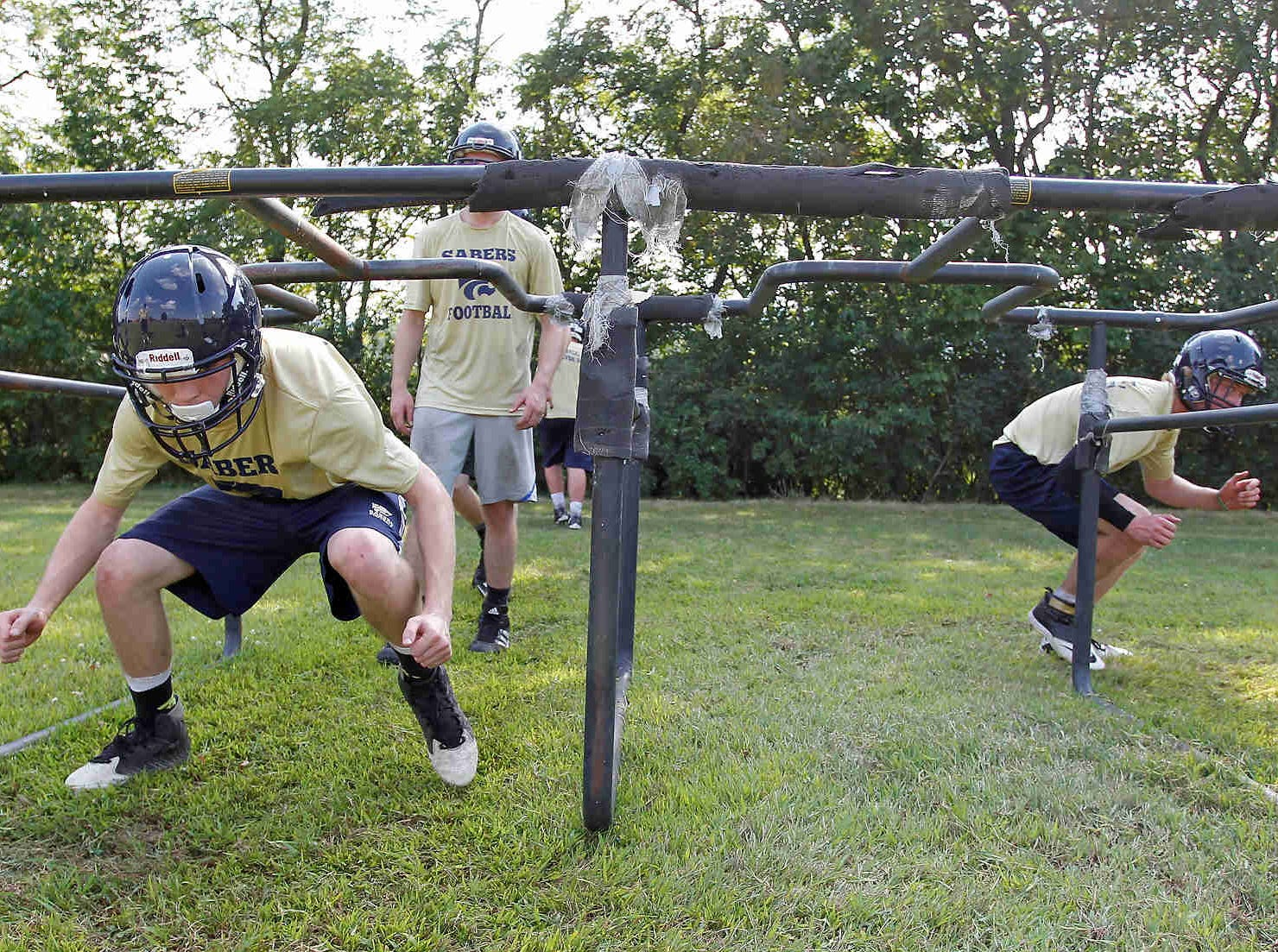 First day of football practice at Susquehanna Valley High School. Monday, August 17, 2015.