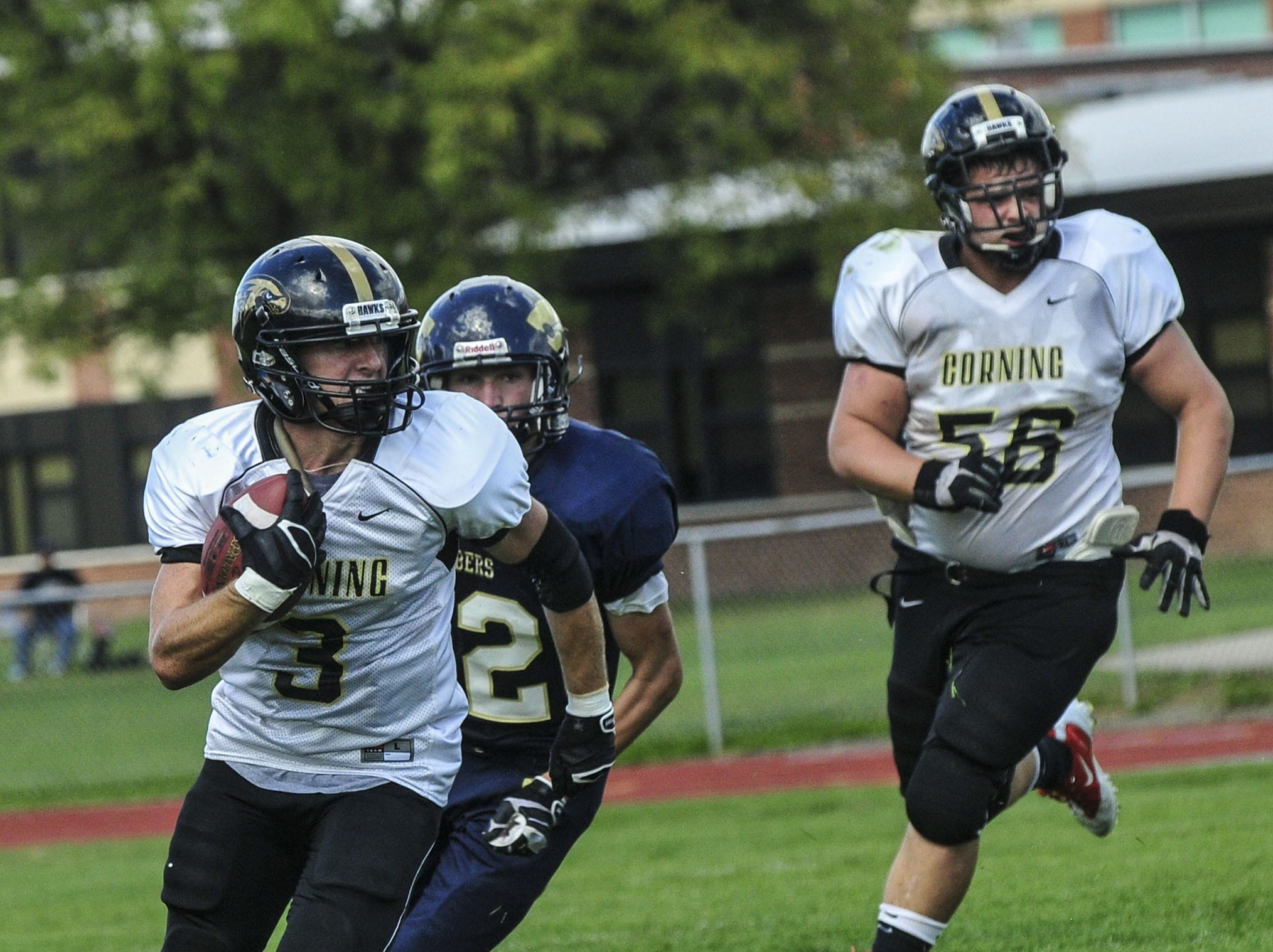From 2013: Corning's Sam Crusha runs for a touchdown after recovering a fumble against Susquehanna Valley on Saturday. Corning hung on for a 28-27 victory.