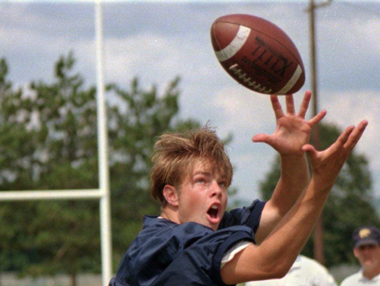 From 1996: Susquehanna Valley's Kasey Gabriel leaps for the ball during a recent practice.