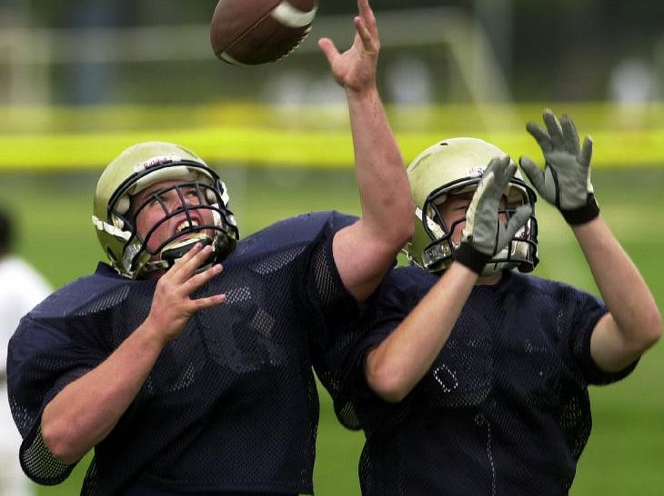From 2004: Susquehanna Valley HS  tight ends Dan Dunham, left and Cory Ellsworth during football practice
