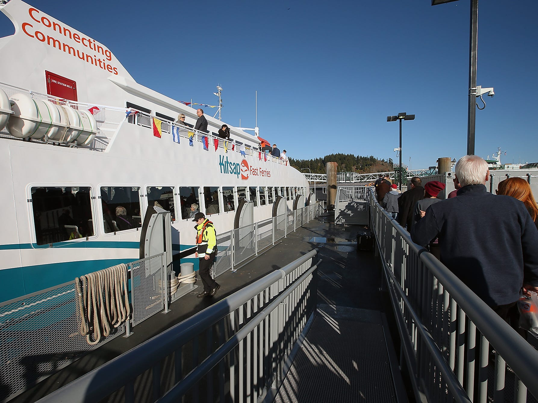 Passengers disembark the M/V Finest on Monday, November 19, 2018.