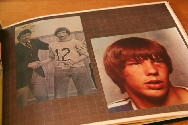 Some photos in the album show Bobby Hutt as a young boy growing up in the 1970s and 1980s. On the left, he received an award for an achievement while playing basketball.