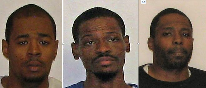 Suspects in a theft at a Sprint store in Evesham are, left to right, Daniel Freeman, James Burton and Dwyane Freeman, all of Philadelphia.