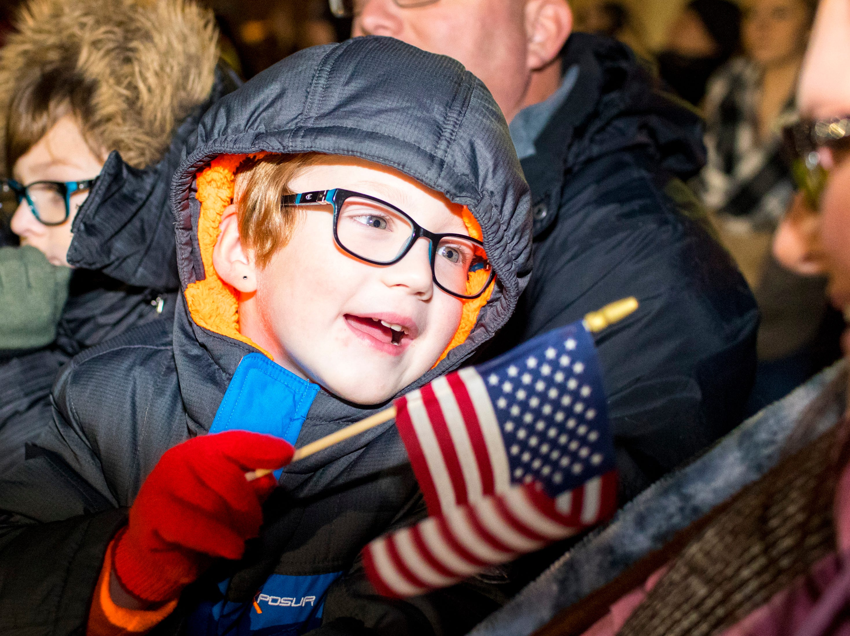 Hudsyn VanKirk, 6, talks to his mom Felisha VanKirk while waiting for Specialist Nick Green to arrive during the welcome home ceremony for the 2nd Battalion, 44th Air Defense Artillery Regiment and 101st Airborne Division at Fort Campbell in the early hours of Monday, Nov. 19, 2018. The soldiers were returning from a 9-month deployment in Afghanistan.