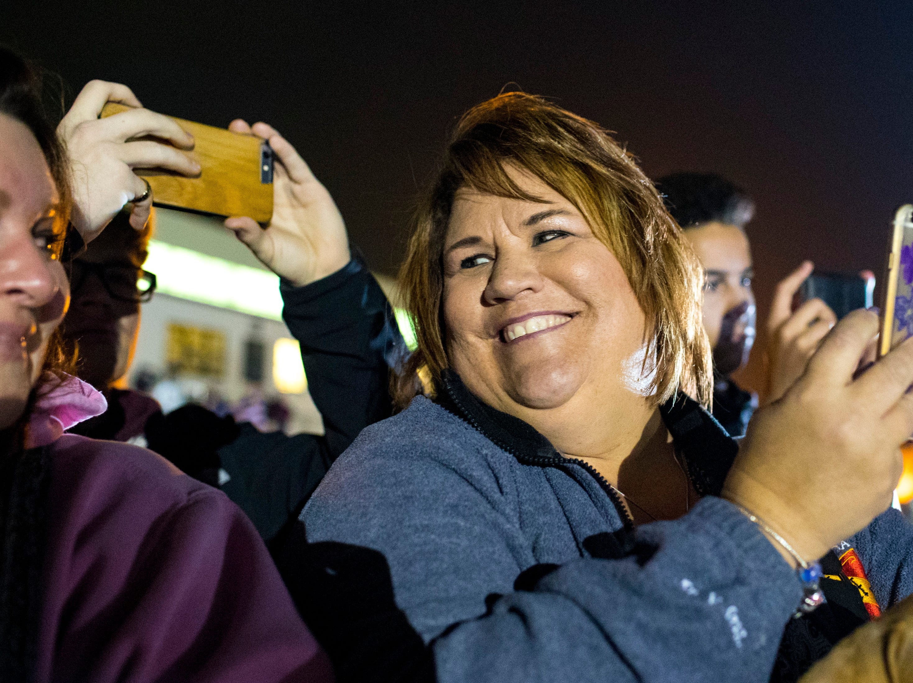 Beverly Eickmeyer prepares to surprise her son Staff Sgt. Matthew Eickmeyer during the welcome home ceremony for the 2nd Battalion, 44th Air Defense Artillery Regiment and 101st Airborne Division at Fort Campbell in the early hours of Monday, Nov. 19, 2018. The soldiers were returning from a 9-month deployment in Afghanistan.