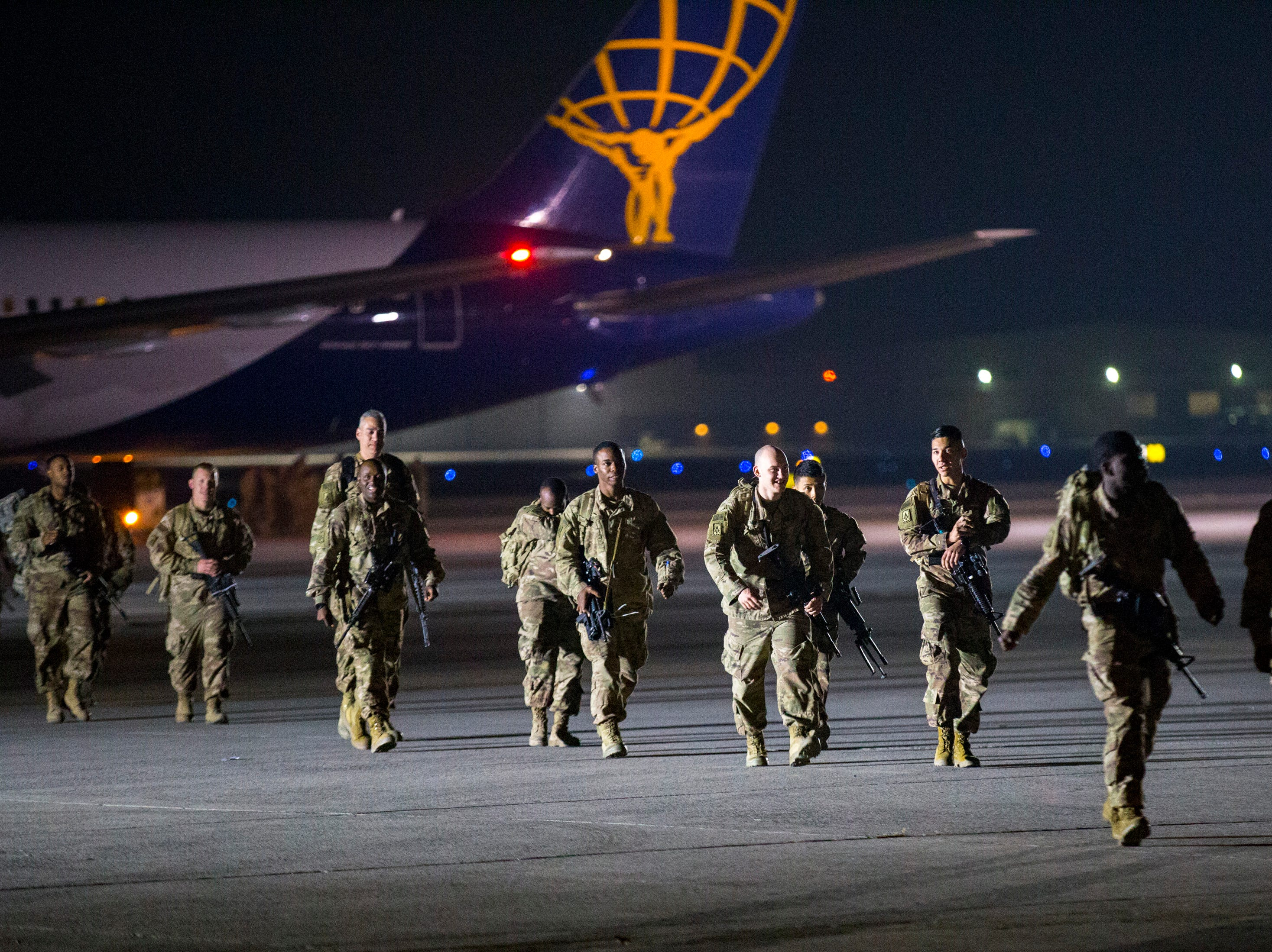 Members of the 2nd Battalion, 44th Air Defense Artillery Regiment and 101st Airborne Division arrives at Fort Campbell in the early hours of Monday, Nov. 19, 2018. The soldiers were returning from a 9-month deployment in Afghanistan.