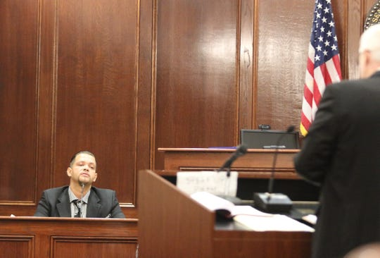 Christopher Williams testifies Monday under cross-examination about the night he was shot by off-duty MCSO reserve deputy Samson Peltier on July 2, 2015.