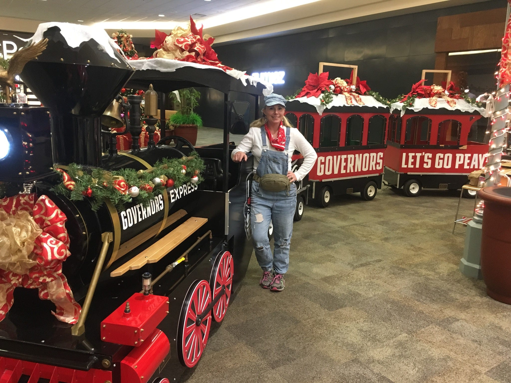 The Governor's Express, with Jennifer Menna at the wheel for the past five years, is decorated and ready for lots of Governor's Square customers.