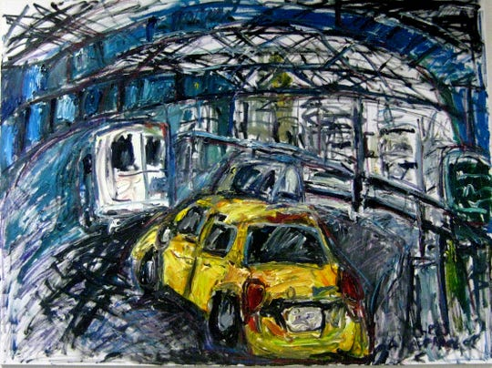 "Chris Kappmeier, ""Taxi Crossing Manhattan Bridge,"" oil on canvas"