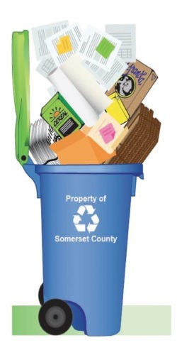 A drawing of one of Somerset County's new recycling totes.