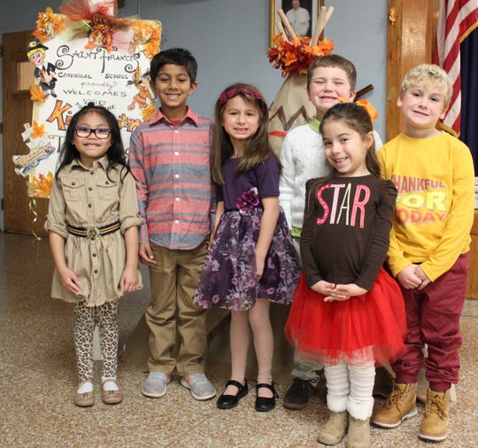 St. Francis Cathedral School Kindergarten students performed their Thanksgiving show on Wednesday, Nov. 14th. The children kicked off the holiday season with song and dance. Pictured are (left to right): Mikayla Eleazar, Viaan Patel, Mia Hale, Michael Comba, Serelia Rivera and Emilio DePasquale. SFCS is located in Metuchen and educates children from Pre K through eighth grade.