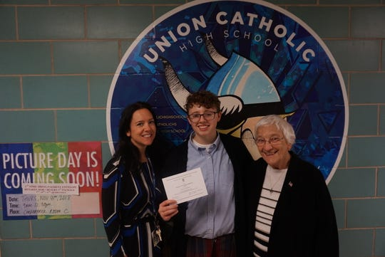 Left to right: Jennifer Dixon, Director of School Counseling, Shaun Keating, Class of 2019 of Plainfield, Sister Percylee Hart, RSM, Principal of Union Catholic