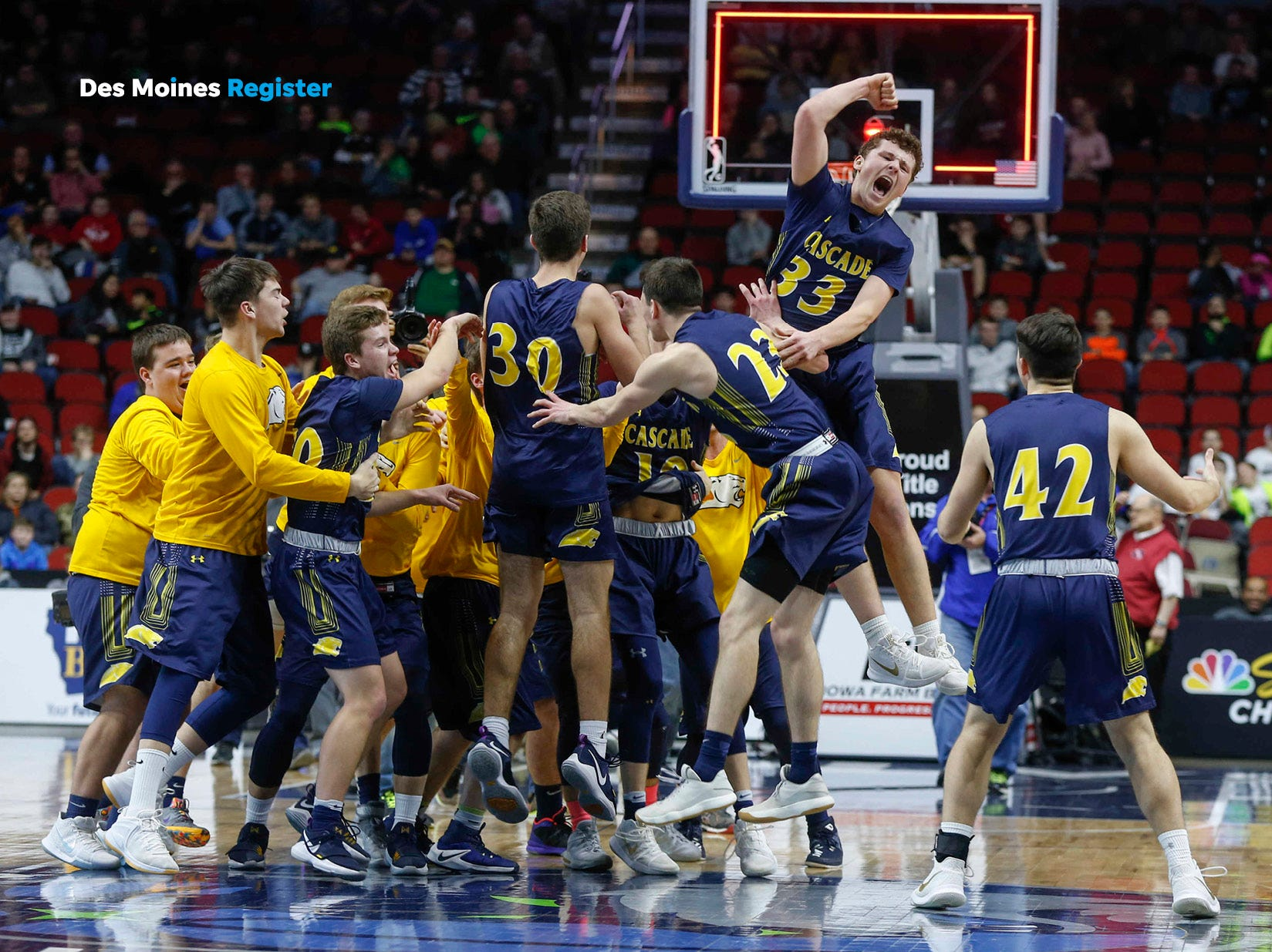 "<b>March: </b> The Cascade boys' basketball team celebrates after winning the school's first state tournament title. The Register's 2019 photo calendar is available for $18 at <a href=""https://shopdmregister.com/collections/photo-gifts/products/2019-des-moines-register-photo-calendar?utm_source=desmoinesregister&utm_medium=link&utm_campaign=launch_gallery"" target=""_blank"">ShopDMRegister.com. </a>"