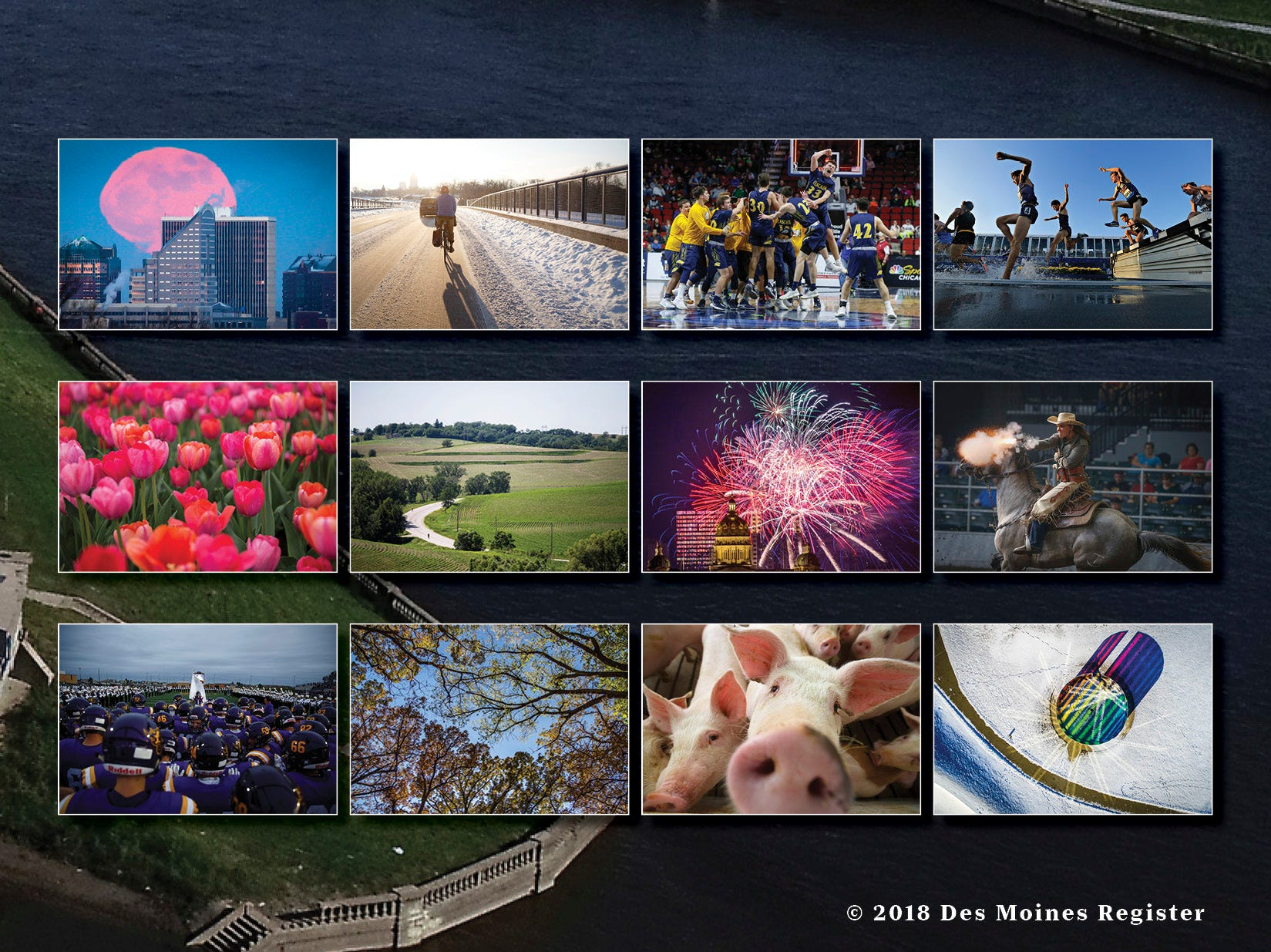 "The back cover of the 2019 Des Moines Register photo calendar offers a snapshot view of each month's feature photo. The  calendar is available for $18 at <a href=""https://shopdmregister.com/collections/photo-gifts/products/2019-des-moines-register-photo-calendar?utm_source=desmoinesregister&utm_medium=link&utm_campaign=launch_gallery"" target=""_blank"">ShopDMRegister.com. </a>"