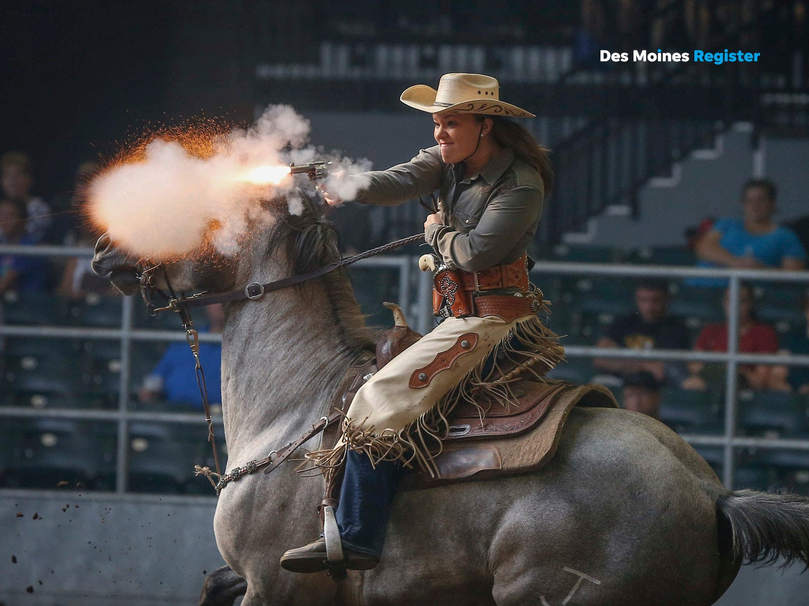 "<b> August: </b> Maddie Travis of Creston fires a shot at a balloon during the Cowboy Mounted Shooting event at the 2018 Iowa State Fair. The Register's 2019 photo calendar is available for $18 at <a href=""https://shopdmregister.com/collections/photo-gifts/products/2019-des-moines-register-photo-calendar?utm_source=desmoinesregister&utm_medium=link&utm_campaign=launch_gallery"" target=""_blank"">ShopDMRegister.com. </a>"