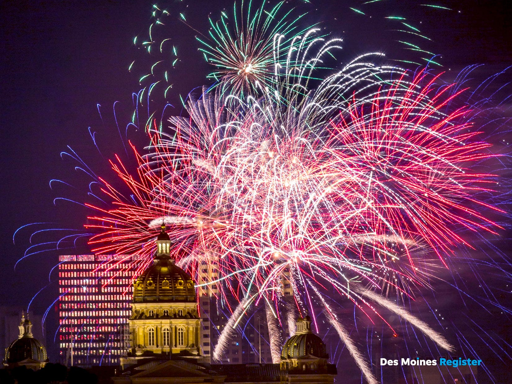 "<b>July: </b>Fireworks light up the sky between the Iowa Capitol and downtown Des Moines. The Register's 2019 photo calendar is available for $18 at <a href=""https://shopdmregister.com/collections/photo-gifts/products/2019-des-moines-register-photo-calendar?utm_source=desmoinesregister&utm_medium=link&utm_campaign=launch_gallery"" target=""_blank"">ShopDMRegister.com. </a>"