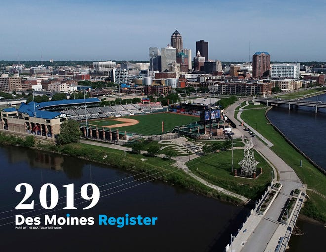 """The cover of the 2019 Des Moines Register photo calendar features a beautiful drone shot of downtown Des Moines. The calendar is available for $18 at <a href=""""https://shopdmregister.com/collections/photo-gifts/products/2019-des-moines-register-photo-calendar?utm_source=desmoinesregister&utm_medium=link&utm_campaign=launch_gallery"""" target=""""_blank"""">ShopDMRegister.com. </a>"""