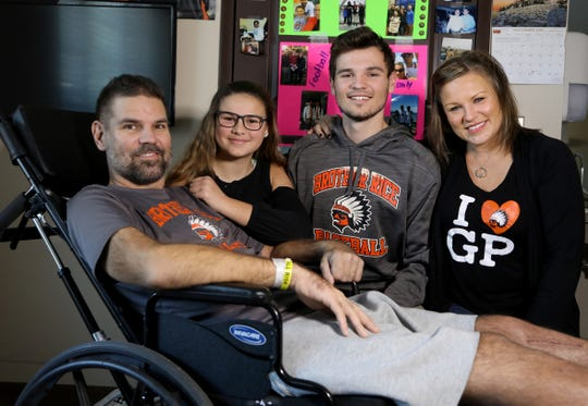 (L to R) The Piscopink family Greg, his daughter Lauren, brother Gregory and his wife Jennifer Piscopink. They were at Maple Manor Rehab Center in Novi on Wednesday, November 14, 2018 where Greg has been rehabbing since September 25. Piscopink was severely injured in a car crash on I-75 North in Springfield Township on August 15, 2018. His son, Gregory Piscopink was driving and fell asleep at the wheel.