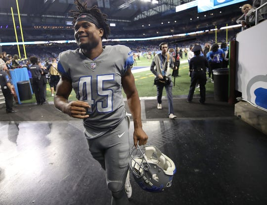 Detroit Lions DB Charles Washington leaves the field, after the Lions defeated the Panthers, 20-19, at Ford Field on Nov. 18, 2018.