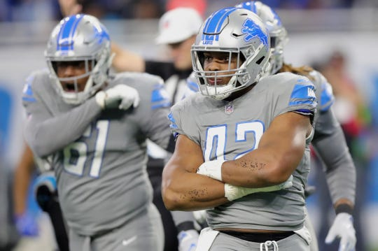 Detroit Lions linebacker Devon Kennard after his sack on Carolina Panthers quarterback Cam Newton during the first half on Sunday, November 18, 2018 at Ford Field.