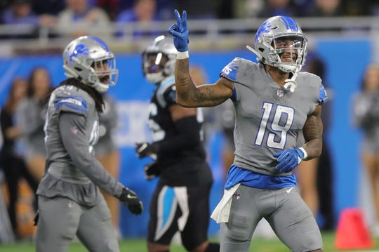Detroit Lions receiver Kenny Golladay walks off the field after the 20-19 win over the Carolina Panthers on Sunday, Nov. 18, 2018 at Ford Field.