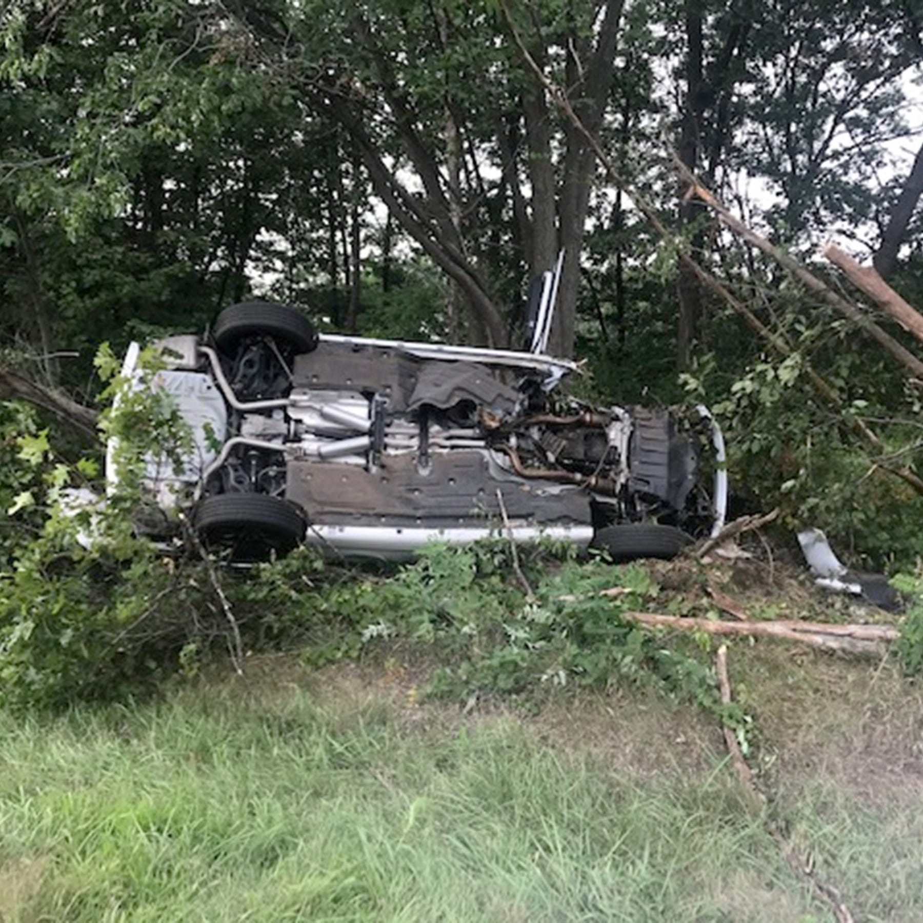 A scene from the accident on August 15, 2018 where Greg Piscopink was severely injured in a car crash when his son, Gregory Piscopink was driving and fell asleep at the wheel.