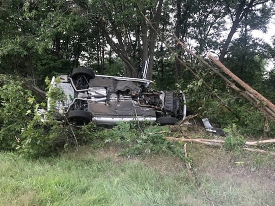 A scene from the accident on Aug. 15, 2018, where Greg Piscopink was severely injured in a car crash when his son, Gregory, was driving and fell asleep at the wheel.